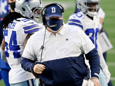 Dallas Cowboys head coach Mike McCarthy is pictured on the sideline during the first quarter against the San Francisco 49 ers at AT&T Stadium in Arlington, Texas, Sunday, December 20, 2020.