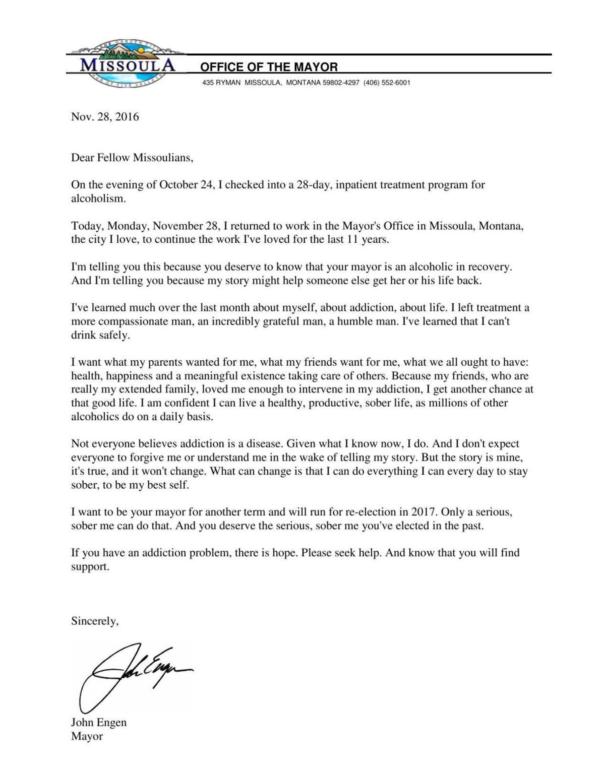 Mayor John Engen s open letter