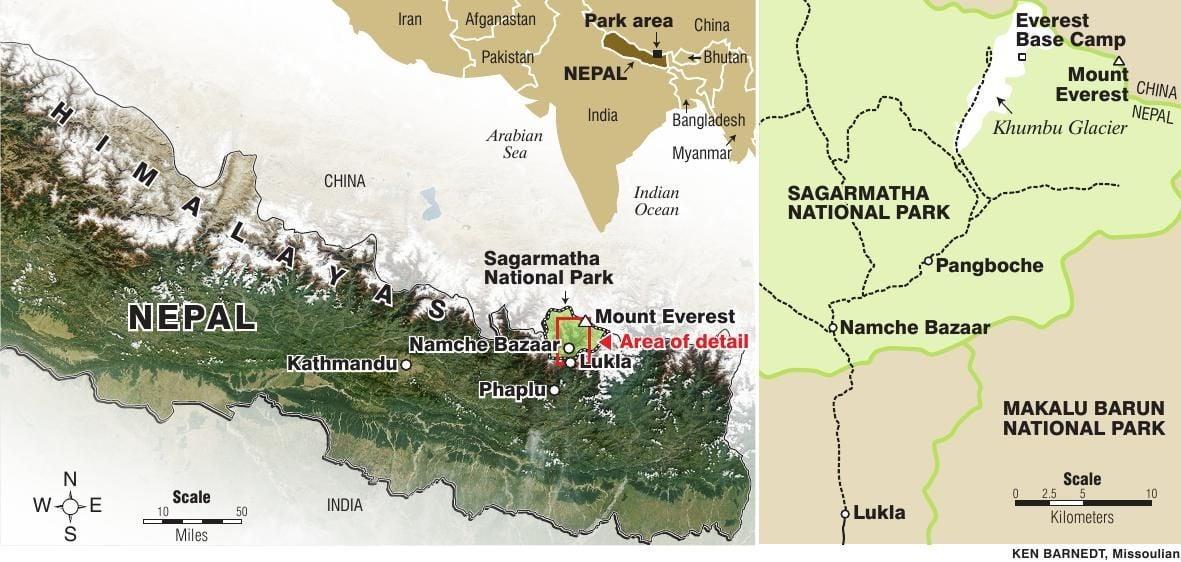 Nepal map with Sagarmatha National Park detail