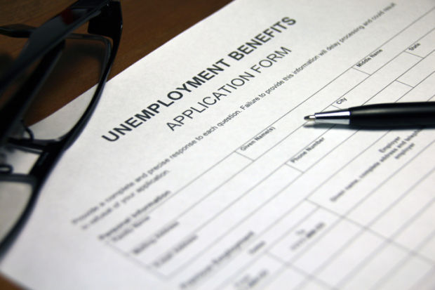 Unemployment benefits application form stockimage