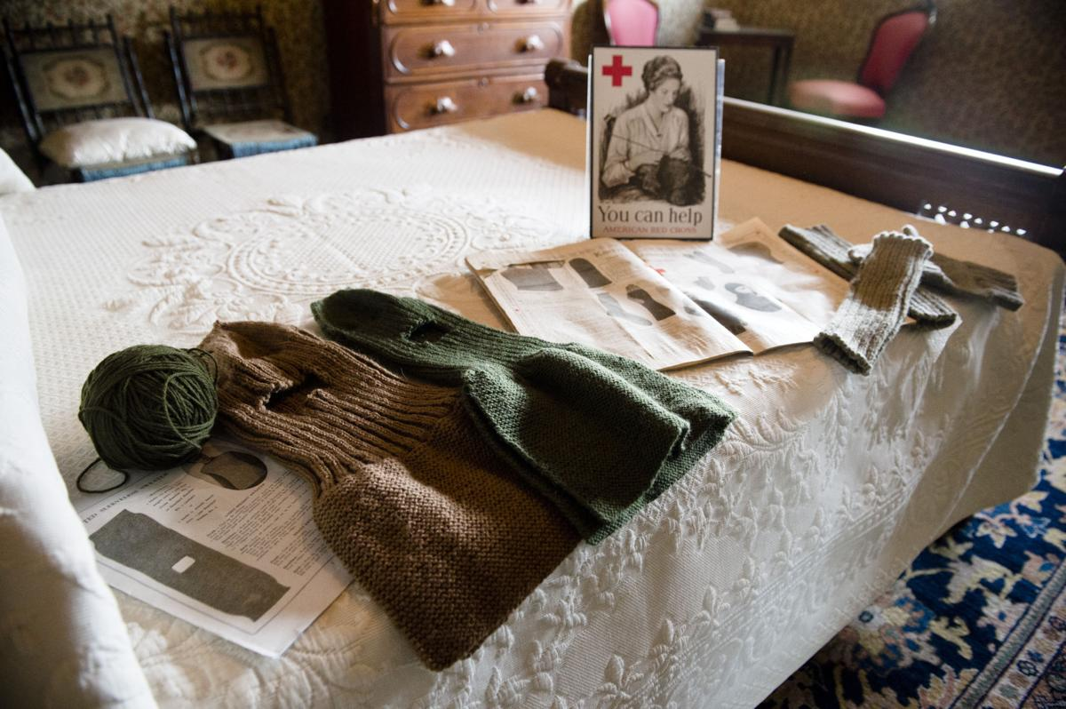 On display is some of the knitting and other contributions that Montana women and children made to the war effort during World War I.