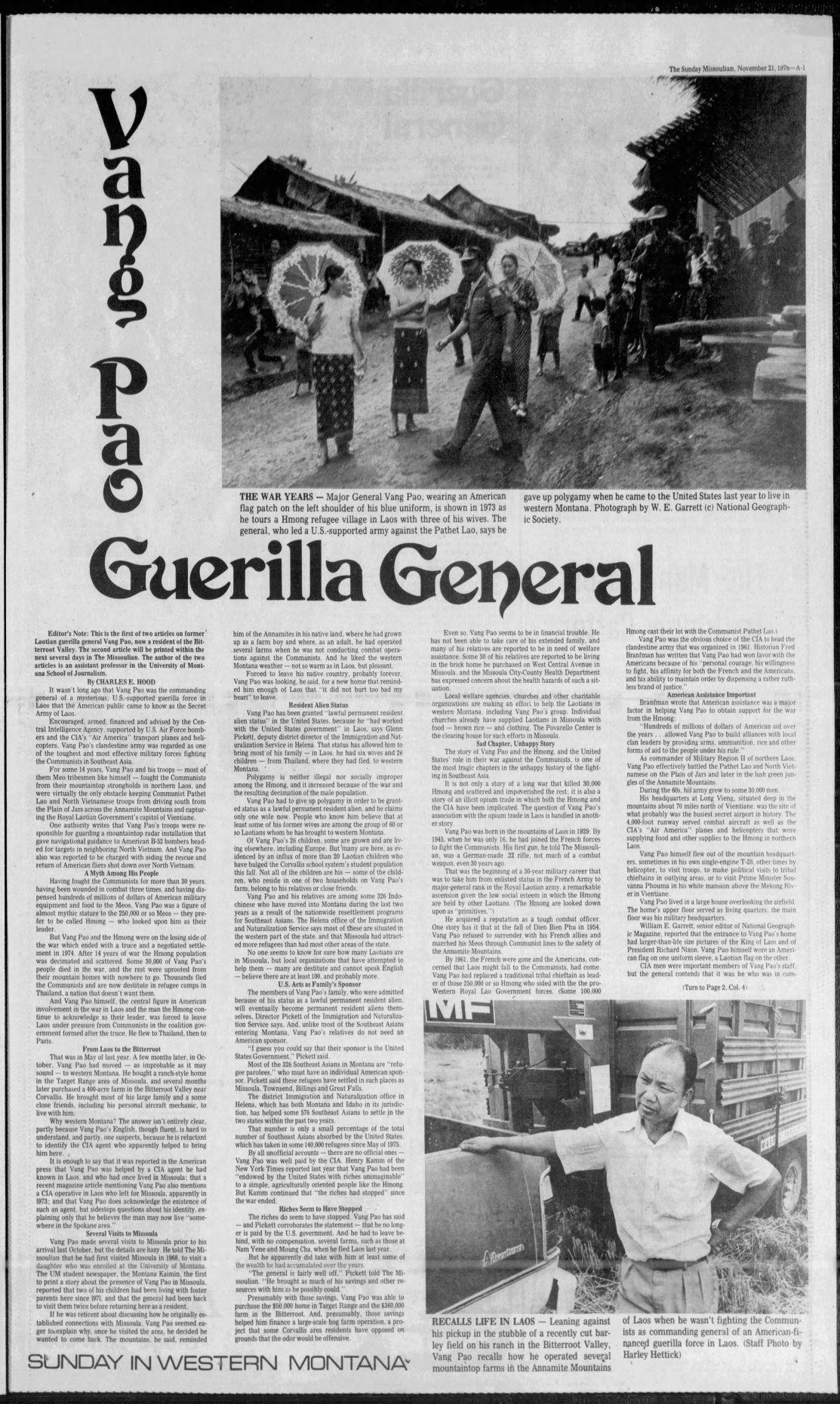 Vang Pao Guerilla General November 1976