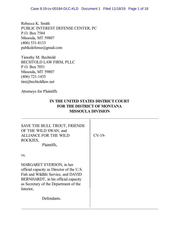 Bull trout lawsuit