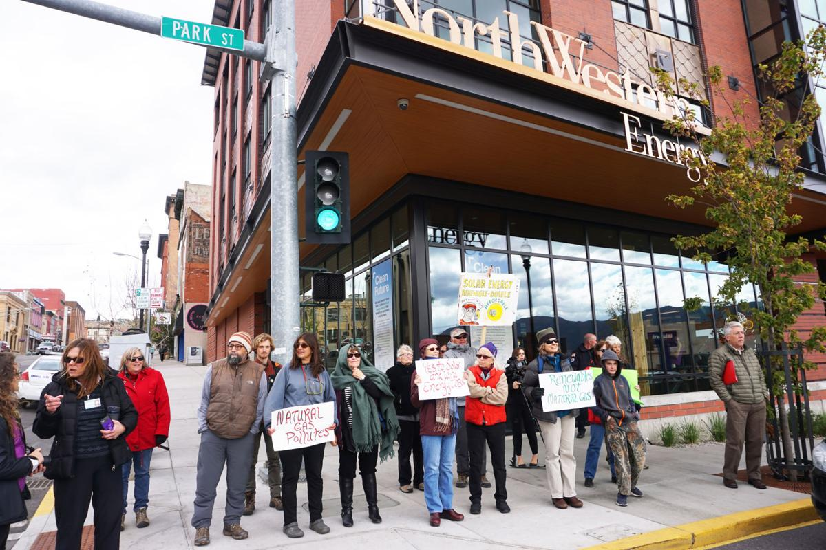 Protesters gather outside NorthWestern Energy headquarters