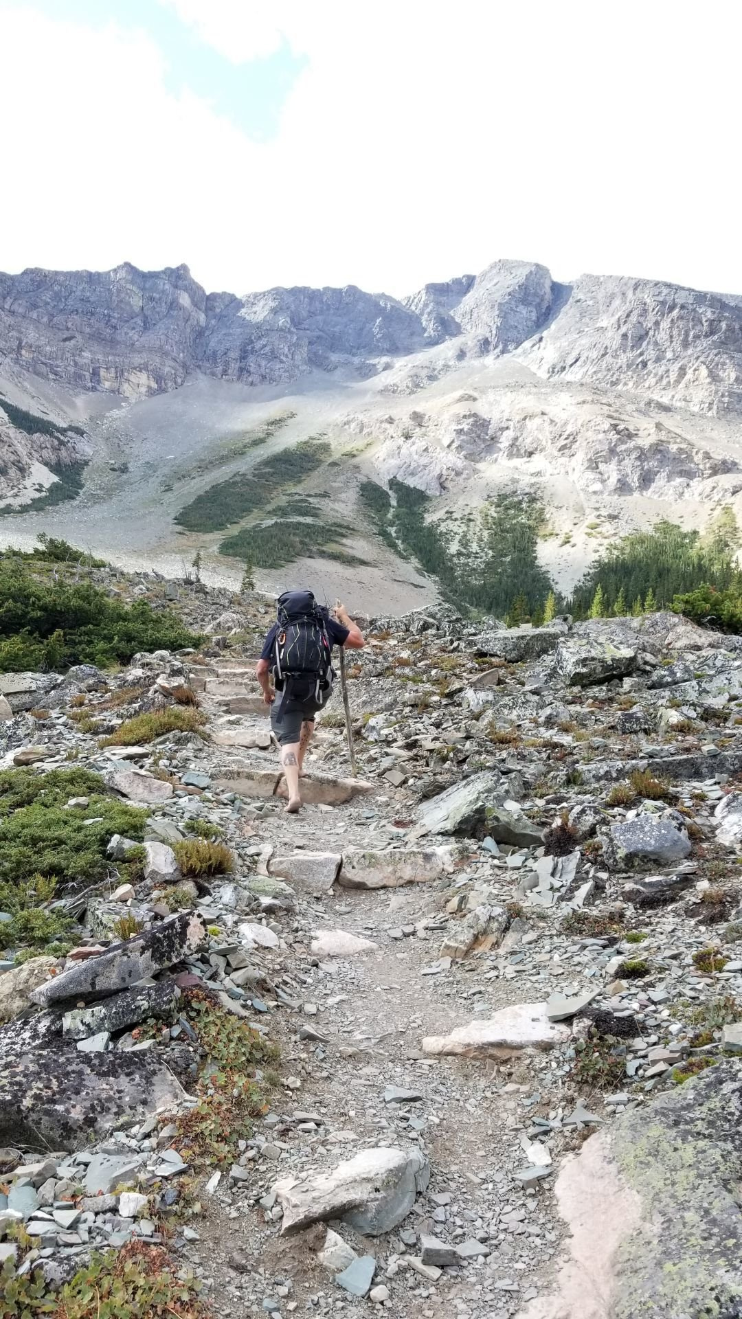 barefoot hiker