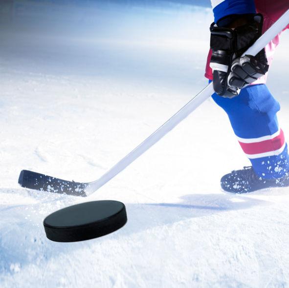 hockey stick puck stockimage