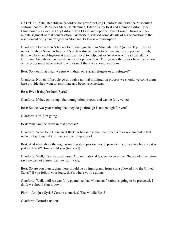 Gianforte Transcript