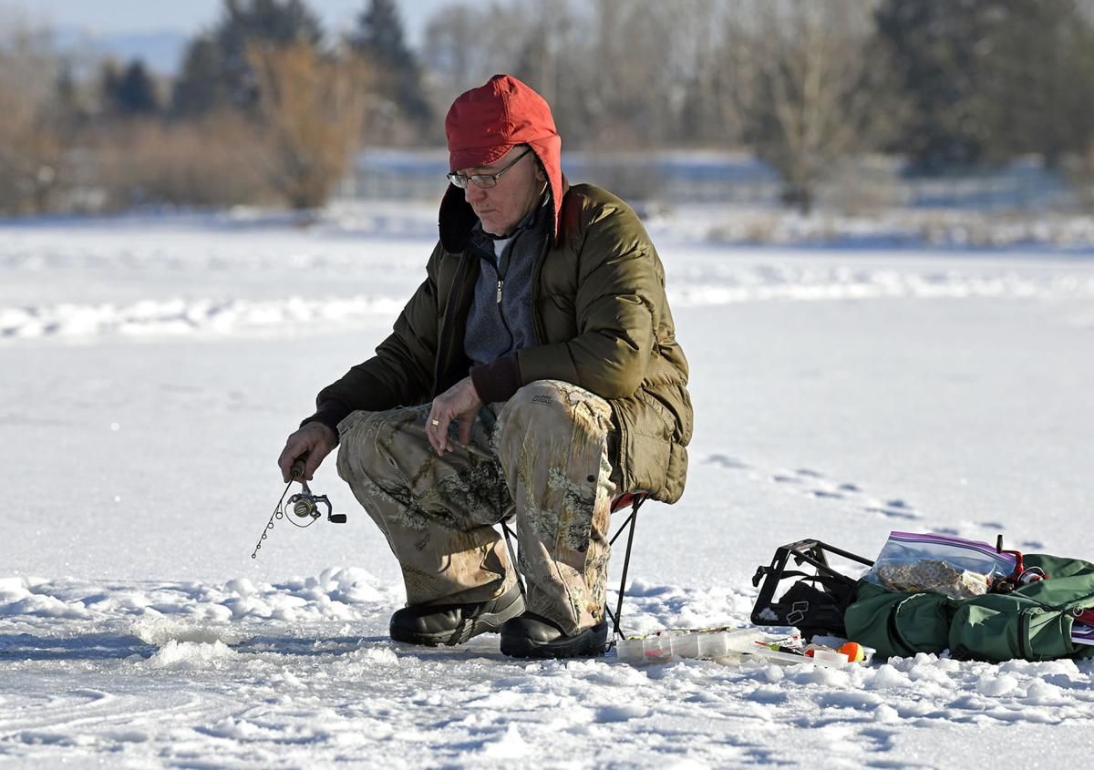 Ice fishing on Frenchtown Pond