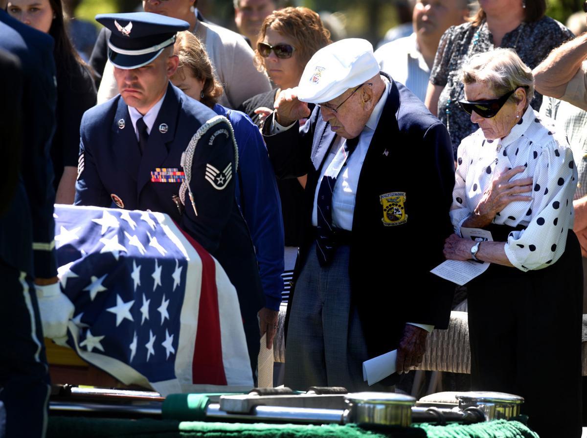 Dick Cole at Thatcher's casket 2016