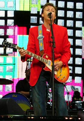 Paul McCartney on stage in Prague