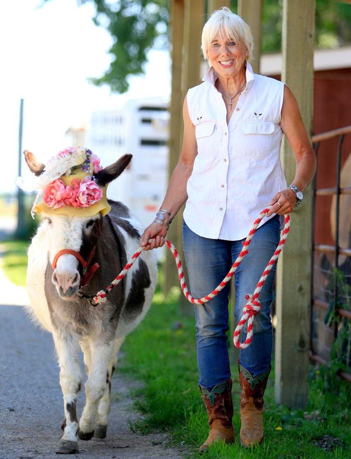 Jonnie Jonckowski and Blossom the donkey