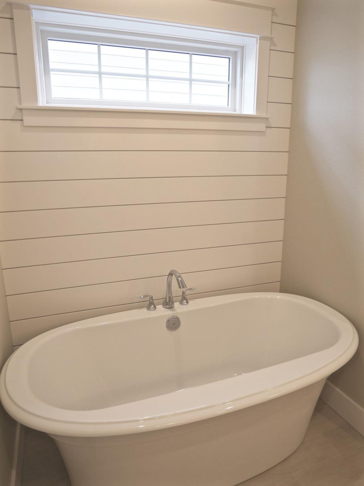 Using shiplap behind a stand-alone tub