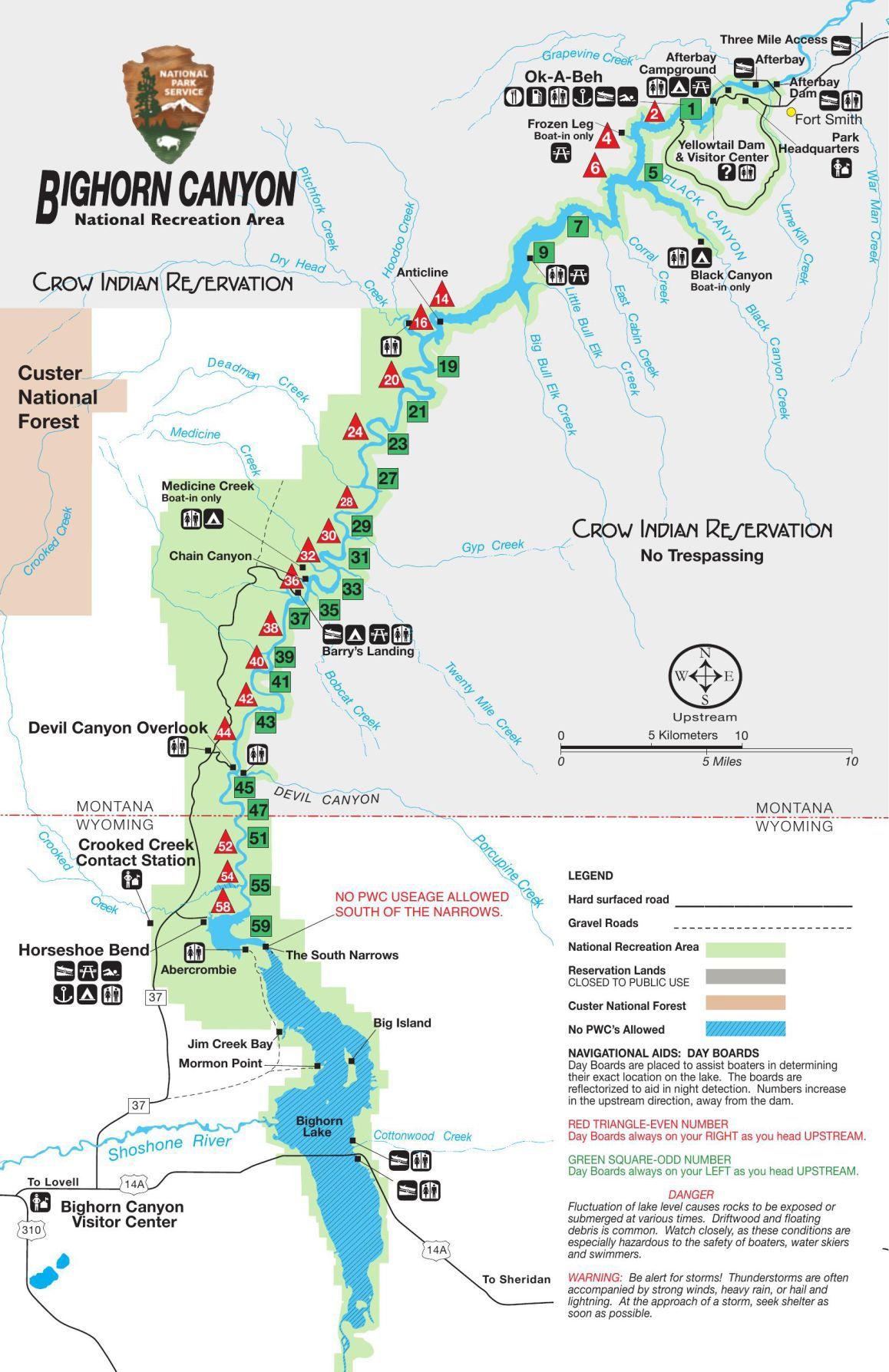 Bighorn Canyon Lake Map