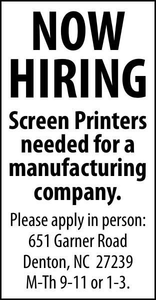 Now Hiring SCREEN PRINTERS
