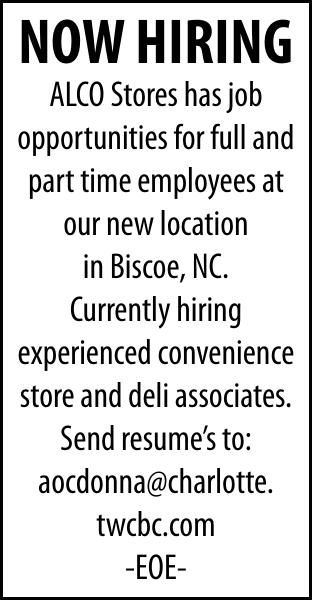 ALCO in BISCOE - NOW HIRING