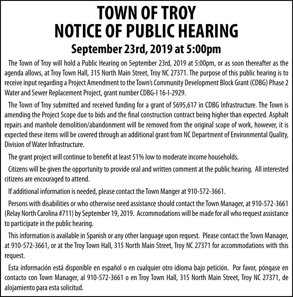 Town of Troy  - NOTICE OF PUBLIC HEARING