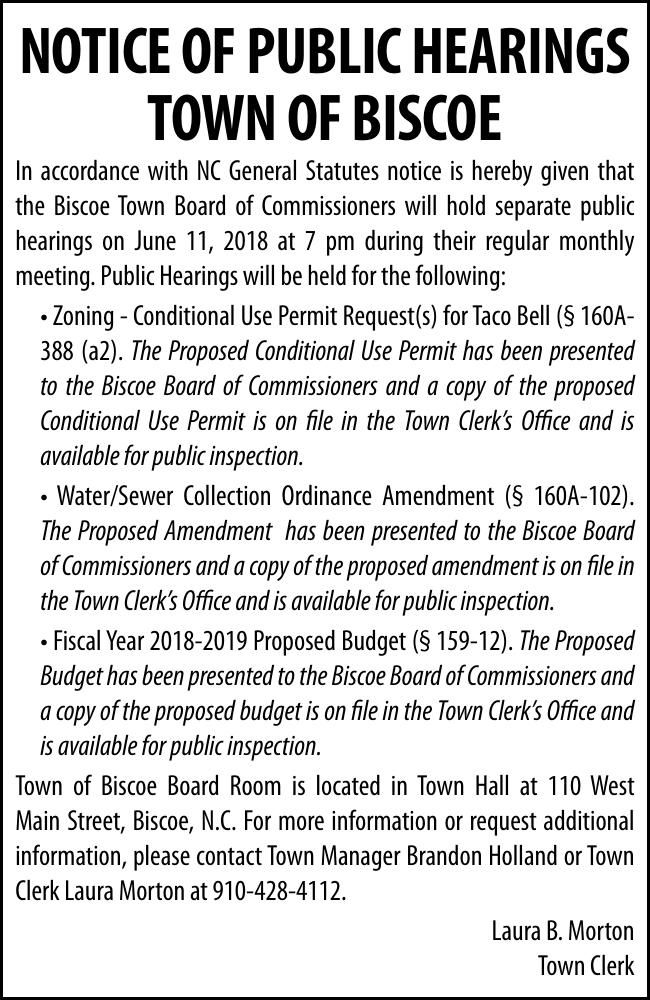 Town of Biscoe - NOTICE OF PUBLIC HEARINGS