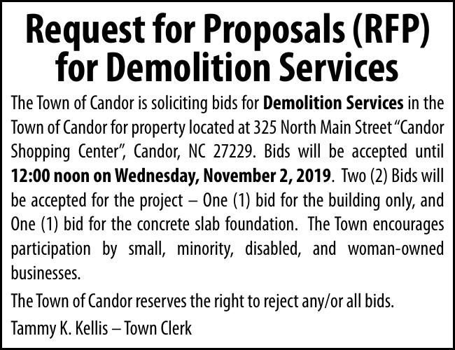 Town of Candor - Request for Proposals (RFP)
