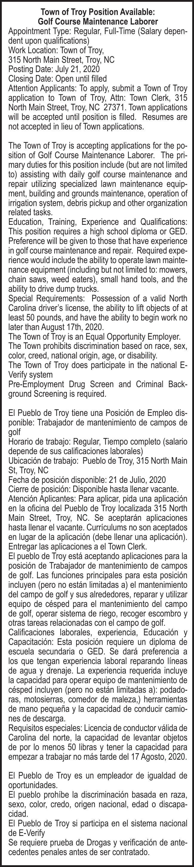 Town of Troy Position Available: