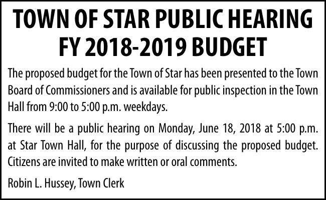 TOWN OF STAR PUBLIC HEARING