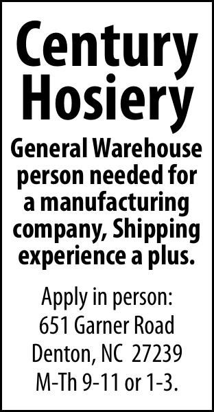 Century Hosiery - Hiring for General Warehouse person