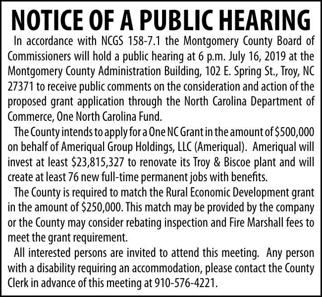 NOTICE OF A PUBLIC HEARING
