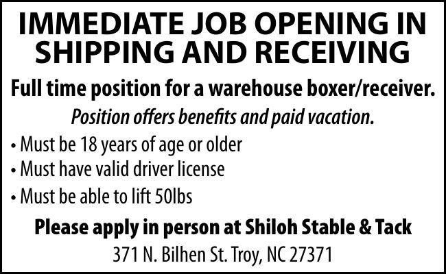 IMMEDIATE JOB OPENING IN SHIPPING & RECEIVING