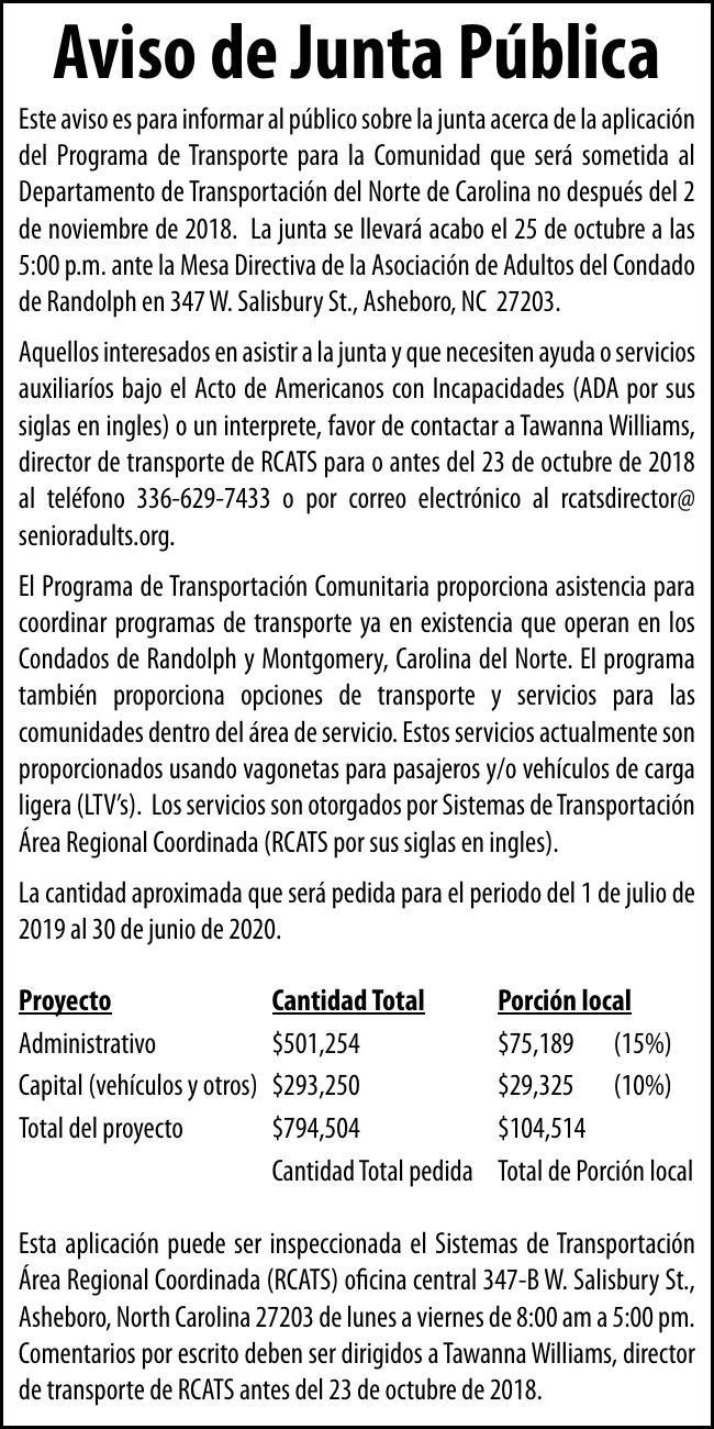 RCATS - Aviso de Junta Pública