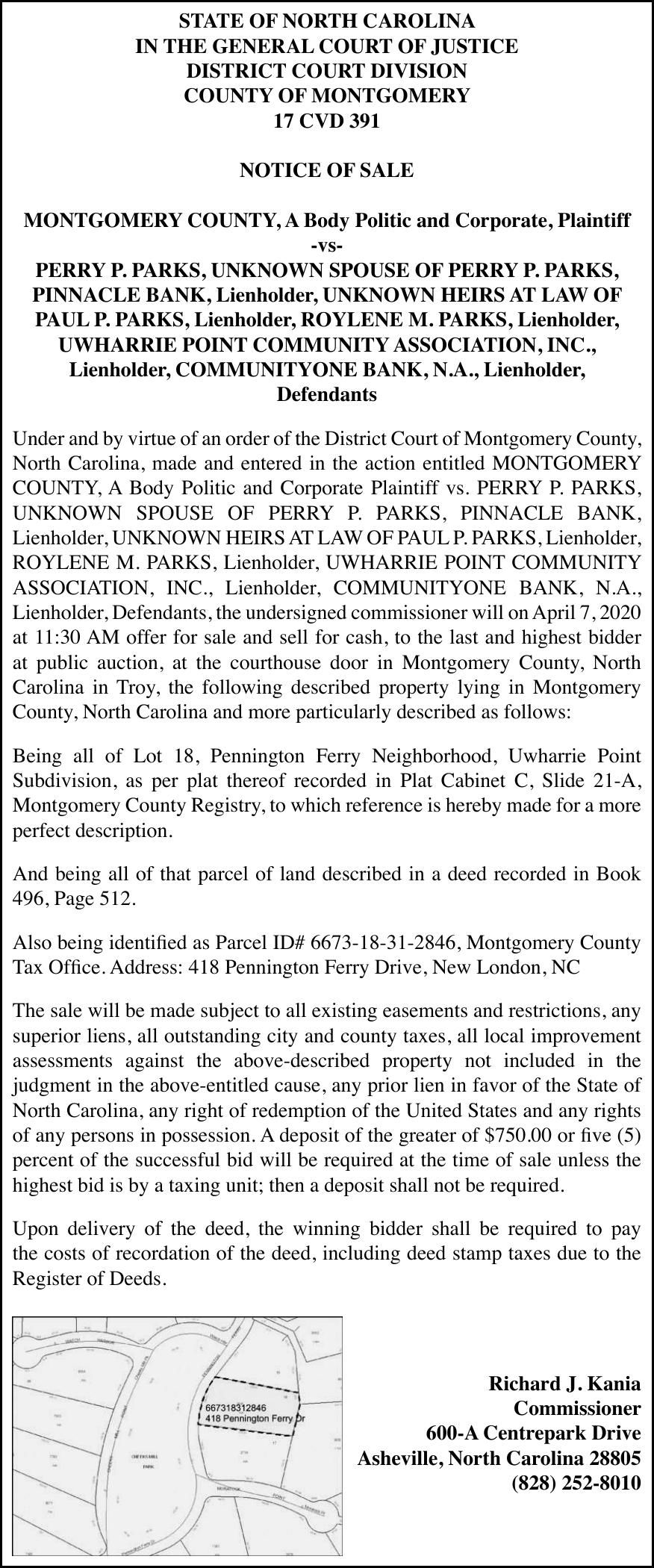 Notice of Foreclosure - PARKS, PERRY