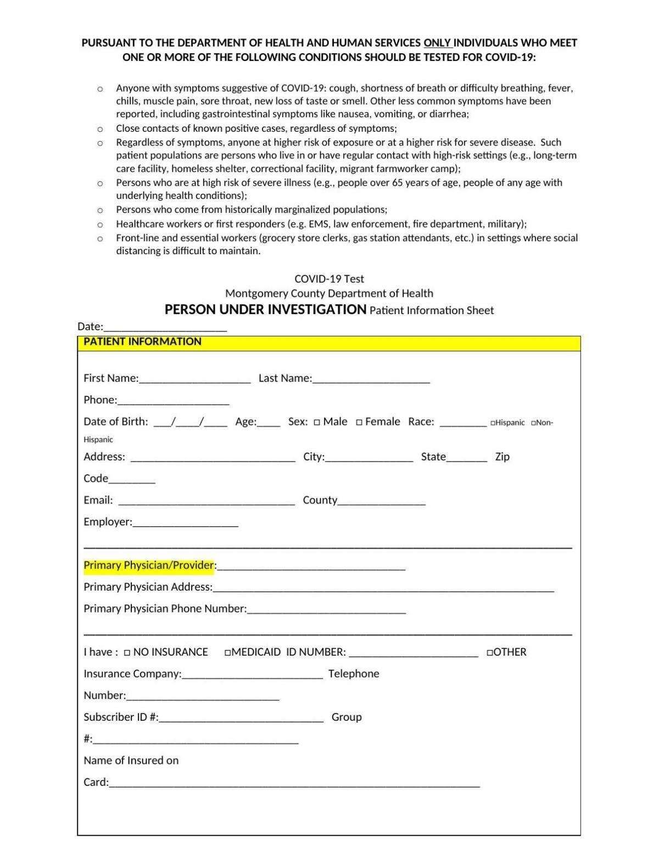Covid-19 Testing form
