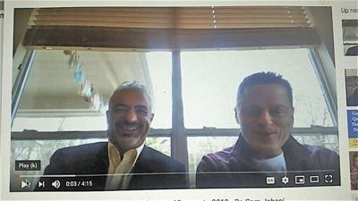Sam Jahani, left, is seen in this screenshot of a video