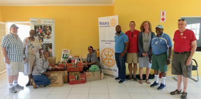 Amy McBride with members of the Rotary Club of Gaborone.