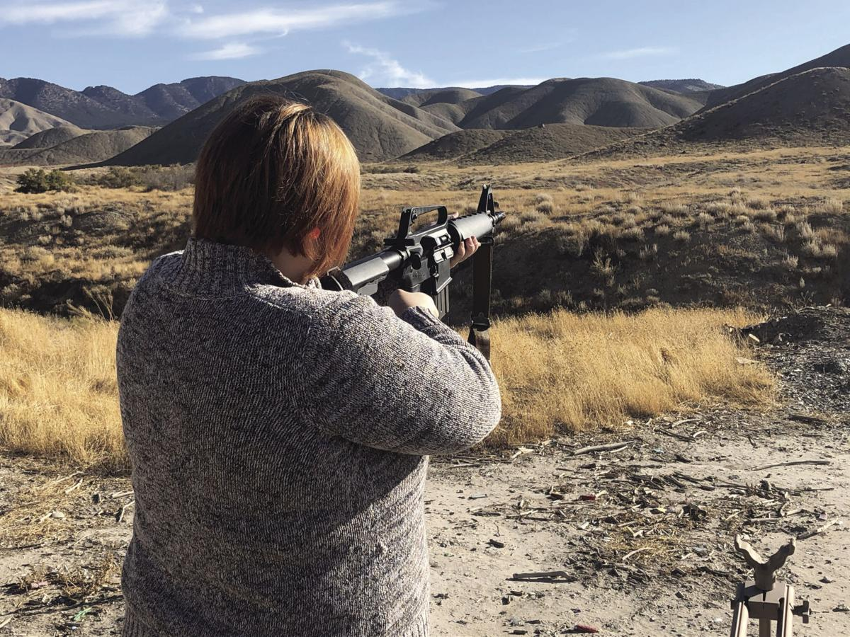 Katharhynn getting set up behind the long range AR-15