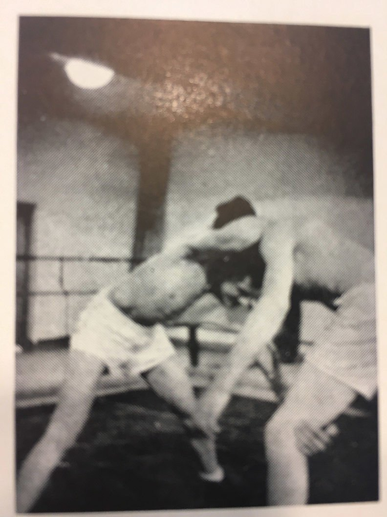Two wrestlers grapple inside a ring