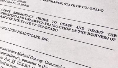 The Colorado Division of Insurance sent cease and desist letters to Aliera Healthcare