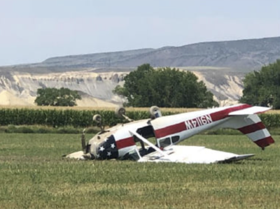 Plane crashes into hayfield; pilot unharmed