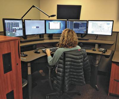 A dispatcher relays calls at the Montrose County Regional Dispatch Center