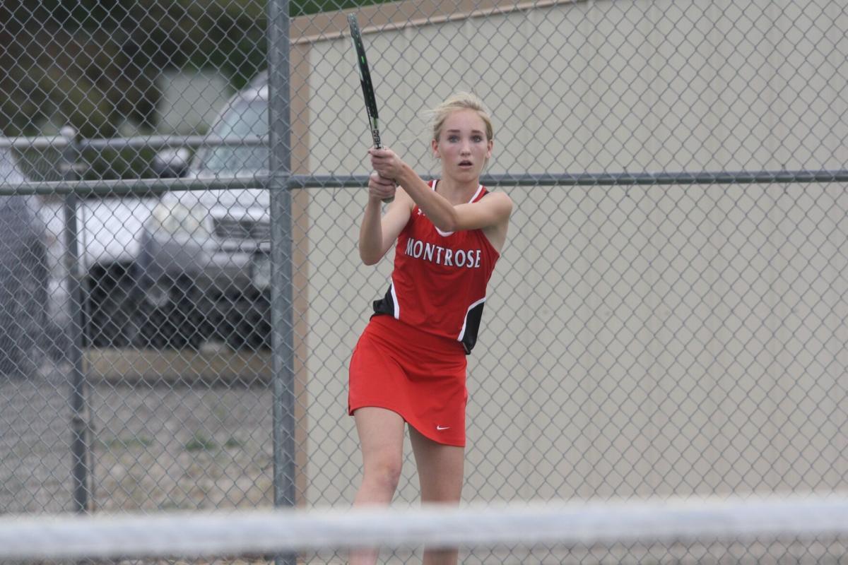 Montrose girls tennis Andie Blowers backhand shot v Durango