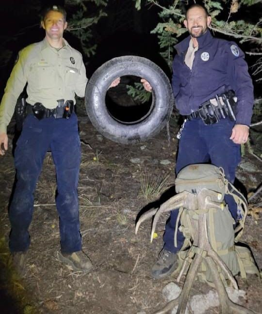 Wildlife officers remove tire that was around a bull elk's neck for over two years