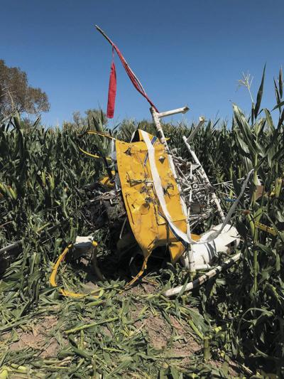 The wreckage of Leonard Felix's helicopter