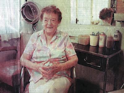 Octa Loper, June, 1995, in her Olathe Beauty Shop