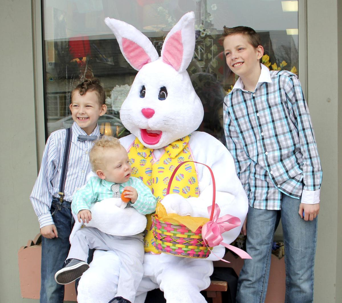 Business buzz easter bunny visits dandelion floral news the rittenour family had the chance to visit the easter bunny in front of dandelion floral and gifts pictured left to right jonas age 8 harrison age 1 negle Images