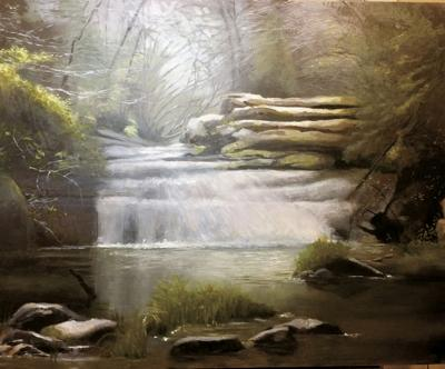 Local artist donates painting of Kinlock Falls to Jackson House Foundation for raffle