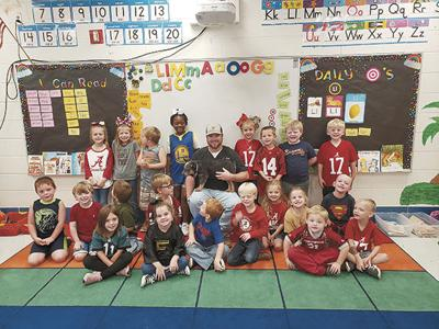 East Lawrence Elementary has visitor for Community Helpers Week
