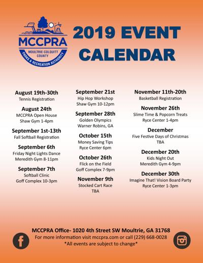 Recreation Authority 2019 events