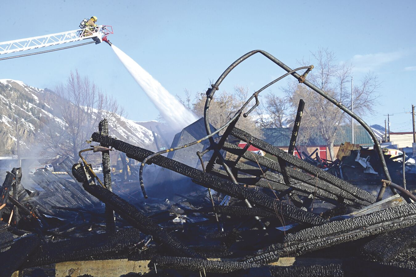 Croy Exchange Fire Wreckage