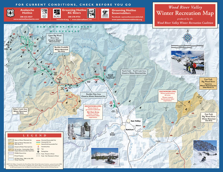 a map of winter recreation opportunities in the wood river valley shows areas available for nordic skiing backcountry skiing and snowmobiling