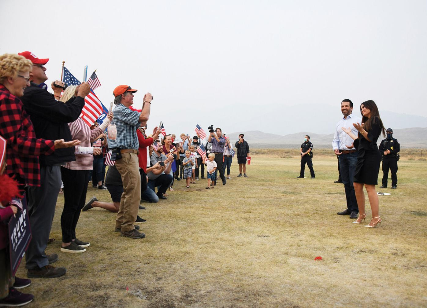 Around 80 people greeted the president's eldest son