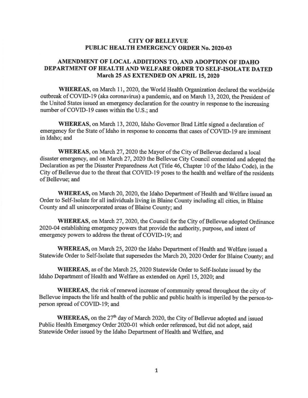 Bellevue Public Health Order, April 17