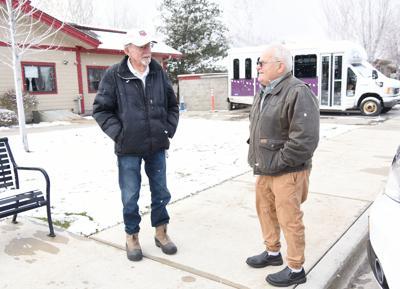 Veterans Bob Stone, left, and Lee Jones